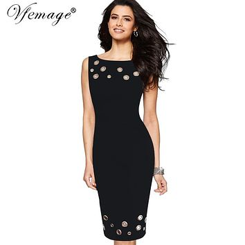 Vfemage Womens Elegant Hollow out Eyelet Vintage Summer Casual Party Work Slim Fitted Bodycon Pencil Sheath Dress Vestidos 6208