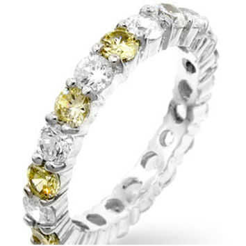 Elizabeth Canary Yellow Eternity Stackable Ring | 4ct | Cubic Zirconia | Sterling Silver