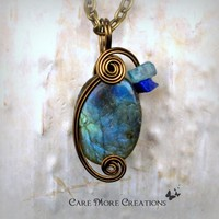 Labradorite Pendant -Iridescent Blue Wire Wrapped Necklace in Gunmetal