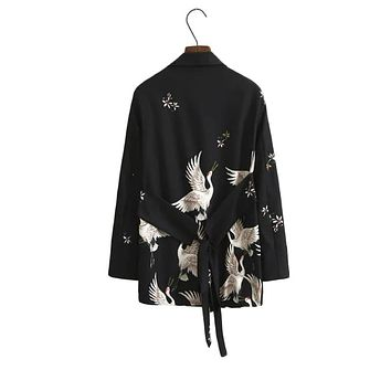 Autumn Notched Collar Women Cranes Vintage Black Blazer New Ladies Outwear Female Jackets Casual Sashes Coat