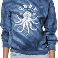 Obey Denizens Of The Deep Indigo Tie Dye Crew Neck Sweatshirt