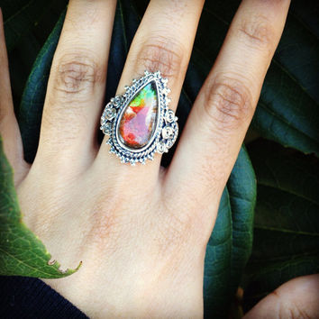 Ammolite Ring, Natural Ammolite Ring, Gift, Mothers Day Gift, Ammolite jewelry