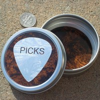 Guitar Pick Tin silver & burlewood grain look
