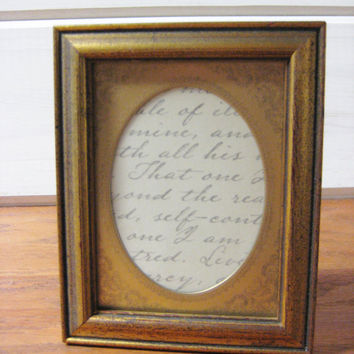 Vintage Wood Picture Frame, Gold Finish, Metal Oval Mat, Easel Photo Frame, Wall Hanging Frame, 4 x 5