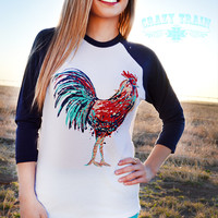 Crazy Train Rule The Roost Baseball Tee Chicken Shirt