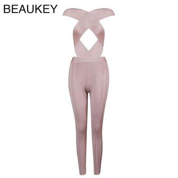 Front Cross Cut Out High Quality Rayon Nude Black High Waist  Sexy Women's 2016 New Arrival Bodycon Bandage Jumpsuits