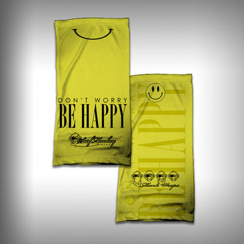 Monk Wrap Neck Gaiter - Face Shield - Bandana - Smiley Be Happy