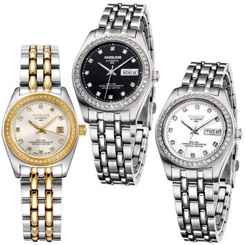 Sapphire mirror automatic mechanical couple table between the gold stainless steel women's watch business calendar-Dial Gold