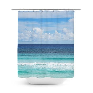 Playa Bonita - Shower Curtain, Blue Ombre Style Beach Surf Curtain, Coastal Home Seascape Accent Hanging Tub Vanity Bathroom Decor. In 71x74