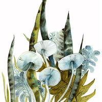 Woodland archival print contemporary botanical by amberalexander
