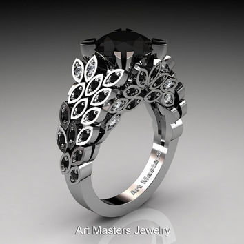 Art Masters Renoir 14K White Gold 3.0 Ct Black and White Diamond Floral Engagement Ring Wedding Ring R299-14KWGDBDD