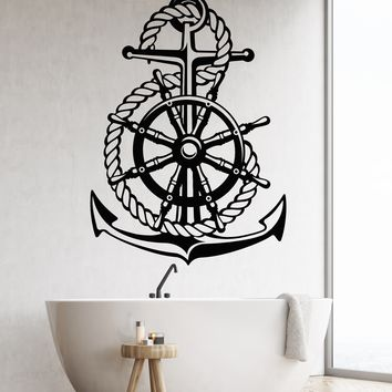 Vinyl Wall Decal Ocean Sea Style Steering Wheel Ship Anchor Sailor Stickers Unique Gift (1852ig)