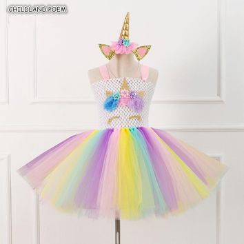 Kids Halloween Costume Unicorn Girls Dress Tutu Rainbow Princess Girls Birthday Weeding Party Dress Kids Dresses For Girls 1-14Y