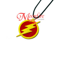 Yellow Lightning Bolt and Red Circle Pendant Necklace