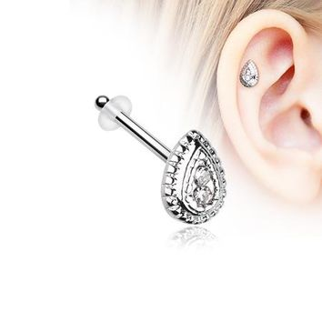 Bali Avice Teardrop Sparkle Piercing Stud with O-Rings