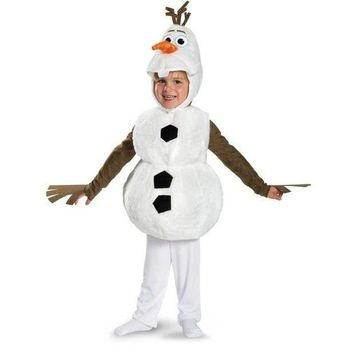 Olaf Deluxe Toddler Costume Kids Movie Cosplay Jumpsuit + Tunic + Headpiece Cute Snowman Halloween Carnival Party Fancy Dress