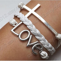 Bracelet - antique silver cross bracelet LOVE bracelet, white wax cord and leather braided bracelet