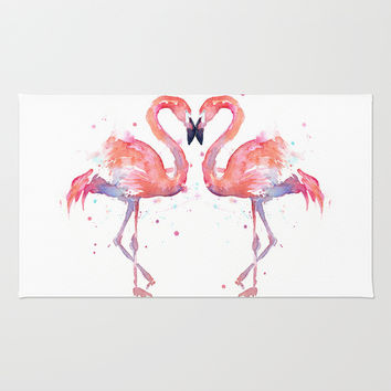 Flamingo Love Watercolor Rug by Olechka