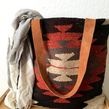 Suzanna Tote Bag/ Shoulder Bag/ Tribal Print Bag/ Aztec Handbag/ Boho Tote Bag