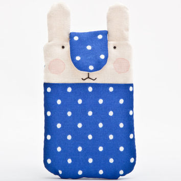 Handmade iPhone sleeve, Bunny iphone 6 case, Polka dot Nokia Lumia sleeve, iPhone case, iPhone cover