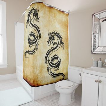 black dragon twins v 3 shower curtain
