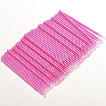 100Pcs/Pack Hot Lint Disposable Makeup Brushes Individual Lash Removing Tools Swab Micro Brush Eyelash Extension Tools