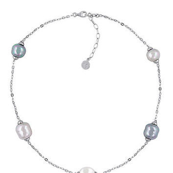 Majorica Sterling Silver and Pearl Illusion Necklace