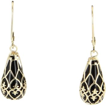 Vintage Onyx Fleur de Lis Drop Earrings 14 Karat Yellow Gold Estate Fine Jewelry