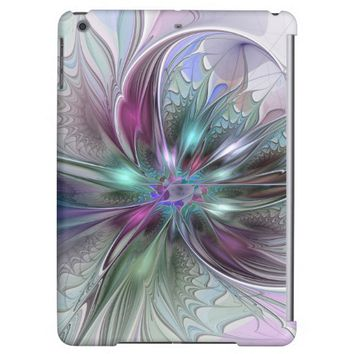 Colorful Fantasy Abstract Modern Fractal Flower iPad Air Cover