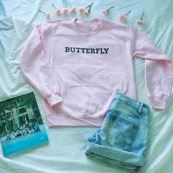 KPOP BTS Bangtan Boys Army Butterfly  Crewneck Sweatshirt Unisex pink fashion sweatshirt moletom do tumblr casual tops  fans Jumper pullovers AT_89_10