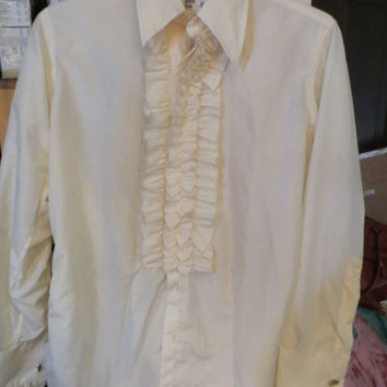 VINTAGE  70s AFTER SIX Ruffle Tuxedo shirt *   off white / light yellow  prom formal tux dress shirt sz 15 1/2-33  with cuff links