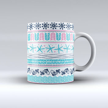 The Jumping Fish Repeating Pattern ink-Fuzed Ceramic Coffee Mug