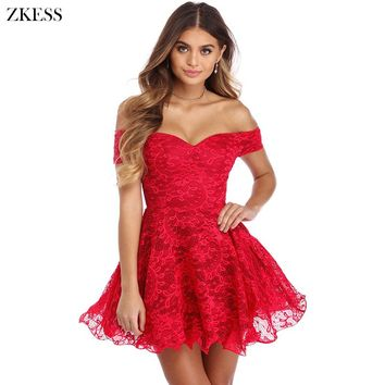 ZKESS Women Strapless Drop Shoulder Lace Skater Dress Fashion Sweet Girls Style Ruched Sexy Night Club Party Mini Dress LC220259