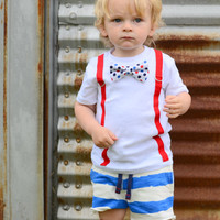 4th of July Outfit Baby Boy. Toddler Boy Fourth of July Shirt. Patriotic Bowtie Suspenders. Red White Blue Polka Dot Bow Tie. Newborn Boy.