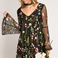 Floral Embroidery Mesh Dress