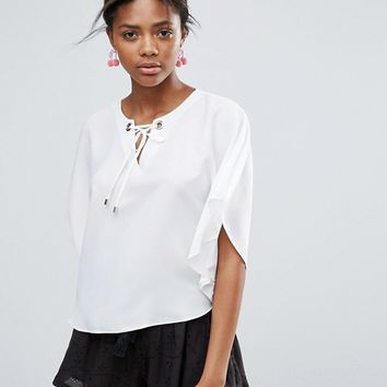 New Look Eyelet Tie Cape Sleeve Top at asos.com