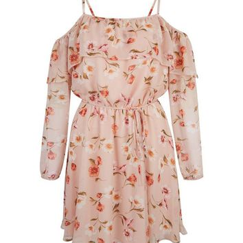 Shell Pink Floral Print Cold Shoulder Frill Trim Dress