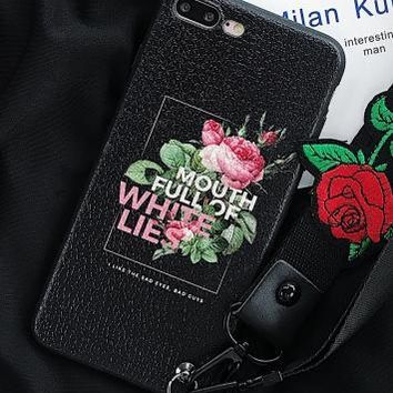 Wrist strap + lanyard flower soft shell Iphone6 phone shell iphone7plus / 6s creative personality