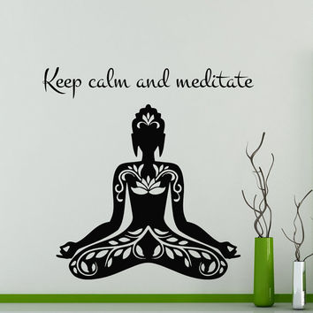 Wall Decals Yoga Quote Keep calm and meditate Vinyl Sticker Decal Gym Decor Home Interior Design Art Murals MN 297