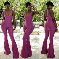 Fashion Women Bell-bottoms Trousers Solid Color Bodycon Flare Pants Party Low-cut Ladies Jumpsuit Playsuit Romper