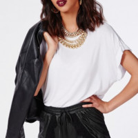 Tulip Hem Vegan Leather Shorts