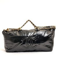 Authentic CHANEL Patent leather Coco ChainShoulder back patent Shoulder Bag