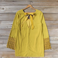Moon & Feather Dress in Mustard