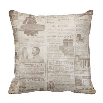 Old Classified Newspaper Design Throw Pillow