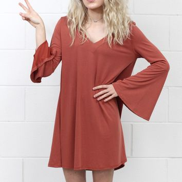 Bell Sleeve Cupro Basic V-neck Dress {Brick}