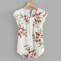 Cap Sleeve Casual Tops Office Ladies Round Neck Regular Floral Elegant Women Blouse