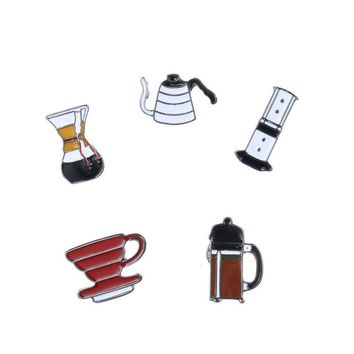 5Pcs/set Fashion Coffee Cup Funnel Brooch Pin Badge Pins Button Denim Jacket Clothing Collar for Women Men Cartoon Jewelry Gifts