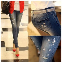 new autunmn winter Rhinestone Beading Jeans woman ripped hole jeans pants women denim pencil pants female trousers G0504