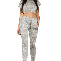 Gray Marled Slit Hoddies Crop Top Pant Set