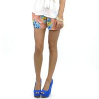Mimosa Brunch Blue & Coral Floral Shorts